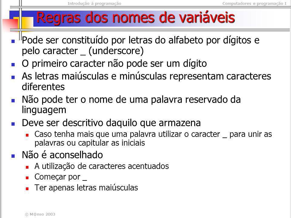 Introdução à programaçãoComputadores e programação I © M@nso 2003 Regras dos nomes de variáveis Pode ser constituído por letras do alfabeto por dígito