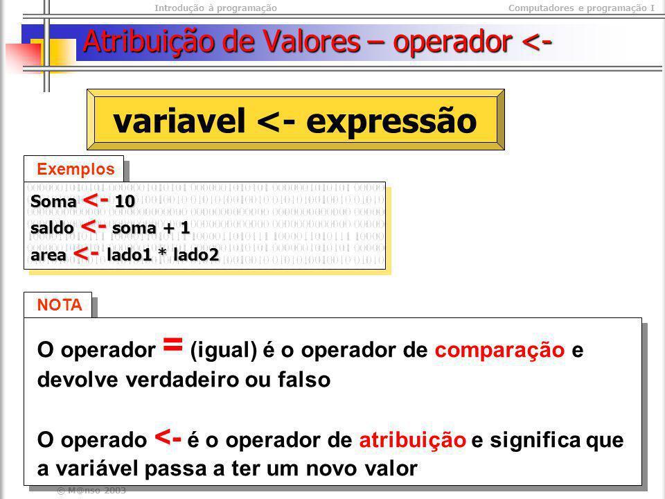Introdução à programaçãoComputadores e programação I © M@nso 2003 Atribuição de Valores – operador <- NOTA O operador = (igual) é o operador de compar