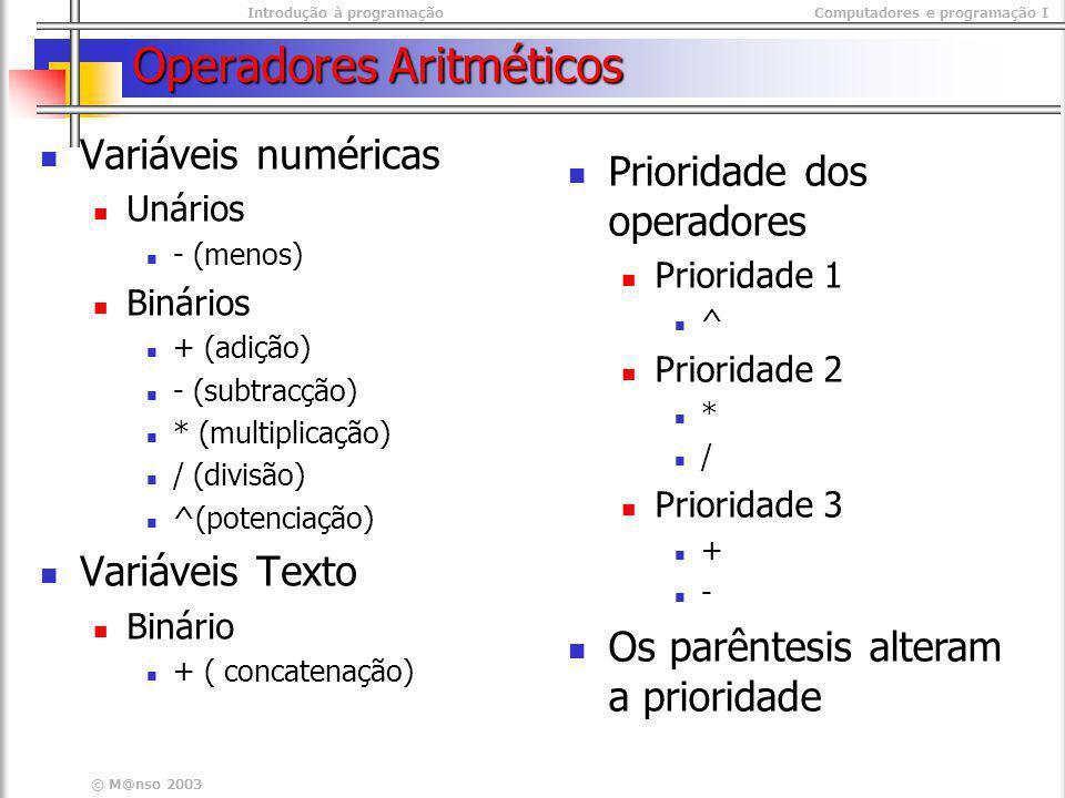 Introdução à programaçãoComputadores e programação I © M@nso 2003 Operadores Aritméticos Variáveis numéricas Unários - (menos) Binários + (adição) - (