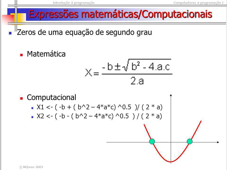 Introdução à programaçãoComputadores e programação I © M@nso 2003 Expressões matemáticas/Computacionais Zeros de uma equação de segundo grau Matemátic