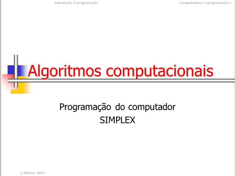 Introdução à programaçãoComputadores e programação I © M@nso 2003 Área do rectangulo Programa Área do rectângulo inicio real lado1, lado2, area real lado1, lado2, area escrever introduza o lado 1 escrever introduza o lado 1 ler lado1 ler lado1 escrever Introduza o lado 2 escrever Introduza o lado 2 ler lado2 ler lado2 area <- lado1 * lado2 area <- lado1 * lado2 escrever A área é , area escrever A área é , areafim inicio real lado1, lado2, area real lado1, lado2, area escrever introduza o lado 1 escrever introduza o lado 1 ler lado1 ler lado1 escrever Introduza o lado 2 escrever Introduza o lado 2 ler lado2 ler lado2 area <- lado1 * lado2 area <- lado1 * lado2 escrever A área é , area escrever A área é , areafim
