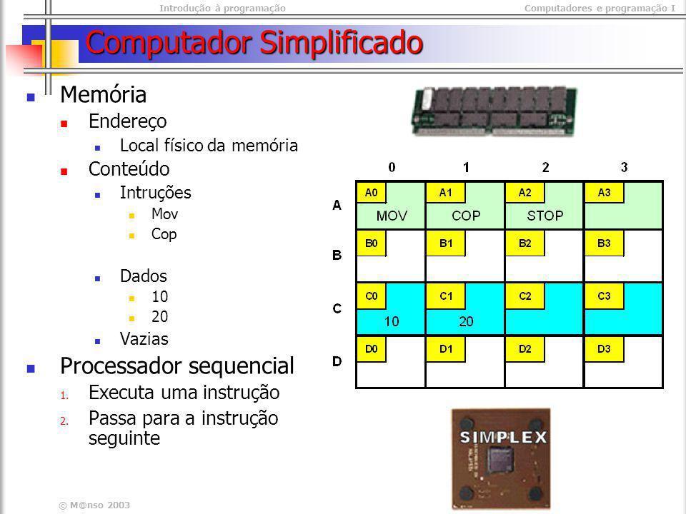 Introdução à programaçãoComputadores e programação I © M@nso 2003 Computador Simplificado Memória Endereço Local físico da memória Conteúdo Intruções