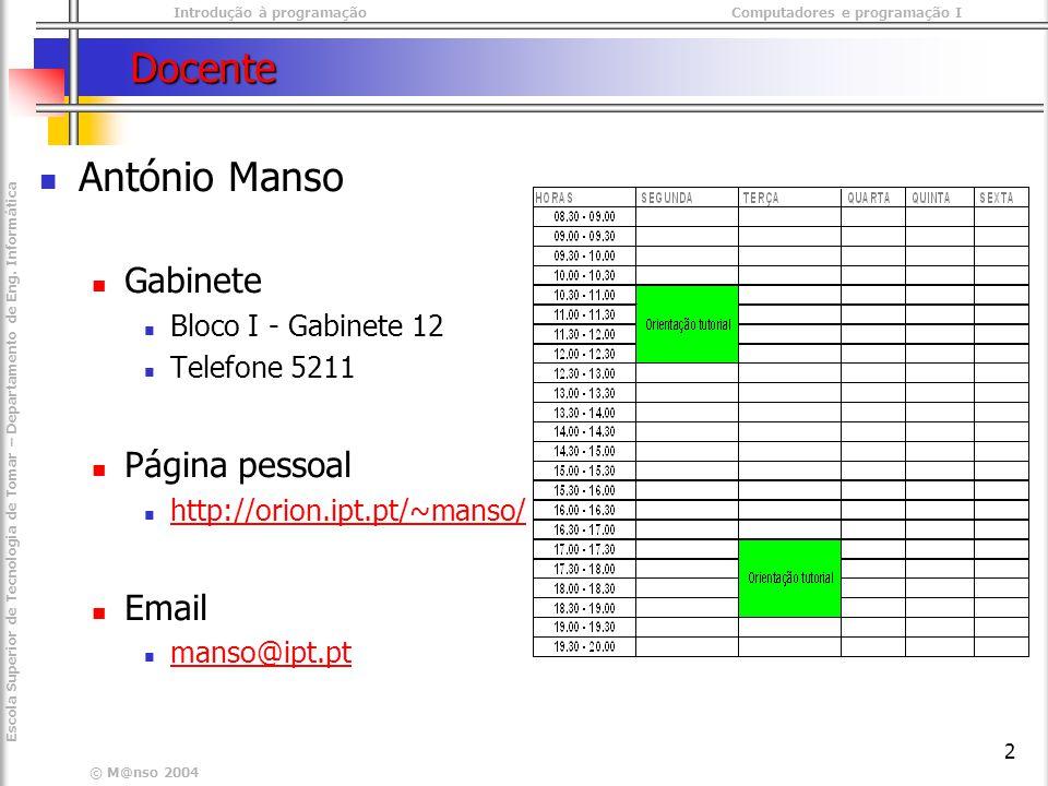 Introdução à programaçãoComputadores e programação I © M@nso 2004 Escola Superior de Tecnologia de Tomar – Departamento de Eng.