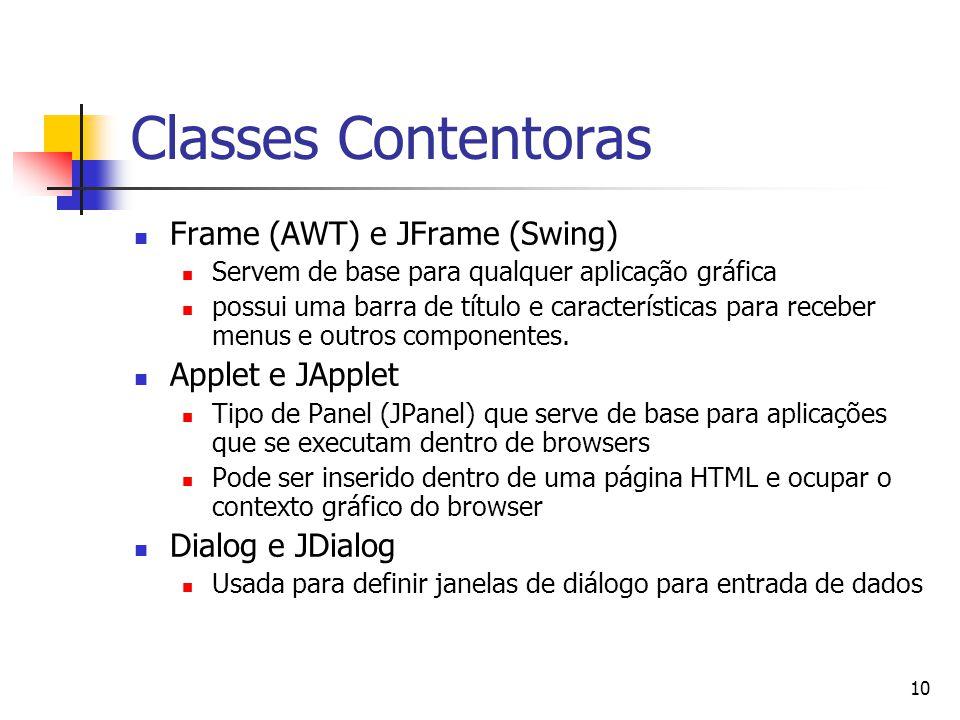 10 Classes Contentoras Frame (AWT) e JFrame (Swing) Servem de base para qualquer aplicação gráfica possui uma barra de título e características para r