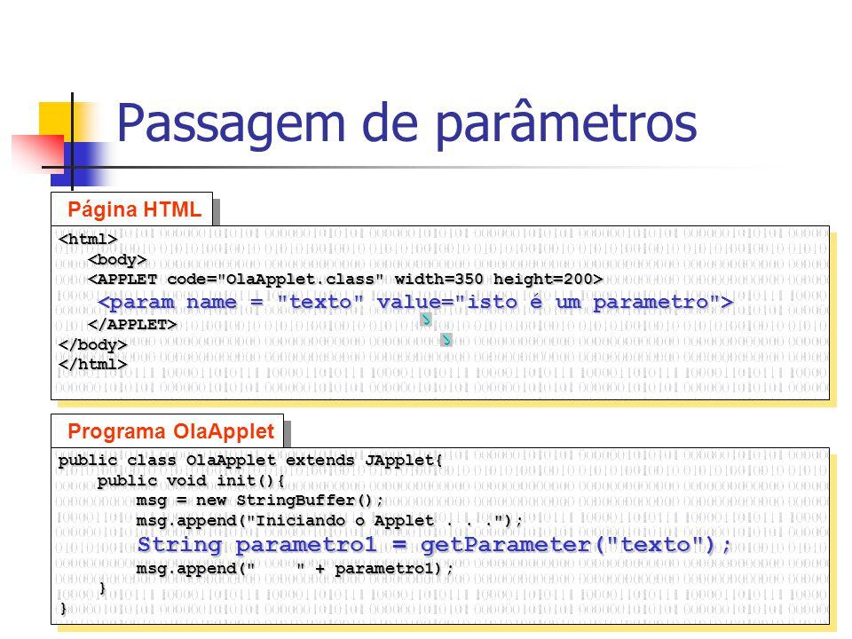 16 Passagem de parâmetros Programa OlaApplet public class OlaApplet extends JApplet{ public void init(){ public void init(){ msg = new StringBuffer();