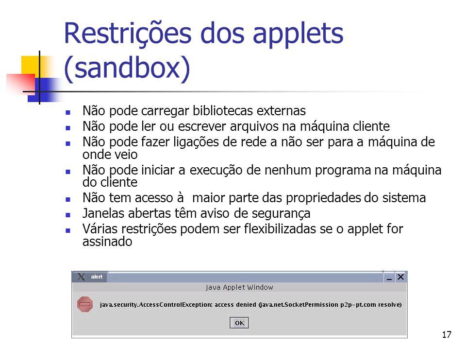 17 Restrições dos applets (sandbox) Não pode carregar bibliotecas externas Não pode ler ou escrever arquivos na máquina cliente Não pode fazer ligaçõe