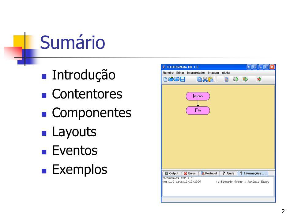 2 Sumário Introdução Contentores Componentes Layouts Eventos Exemplos