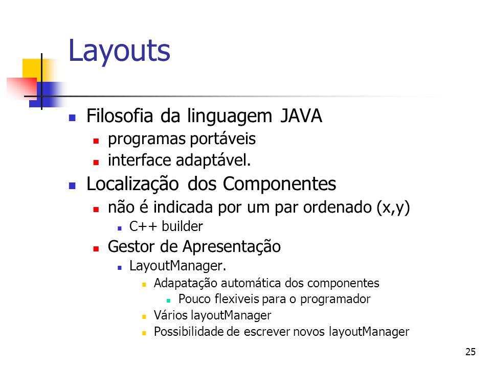 25 Layouts Filosofia da linguagem JAVA programas portáveis interface adaptável. Localização dos Componentes não é indicada por um par ordenado (x,y) C