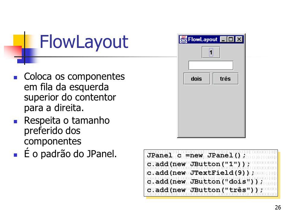 26 FlowLayout Coloca os componentes em fila da esquerda superior do contentor para a direita. Respeita o tamanho preferido dos componentes É o padrão