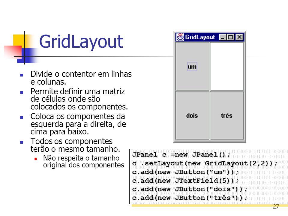 27 GridLayout Divide o contentor em linhas e colunas. Permite definir uma matriz de células onde são colocados os componentes. Coloca os componentes d