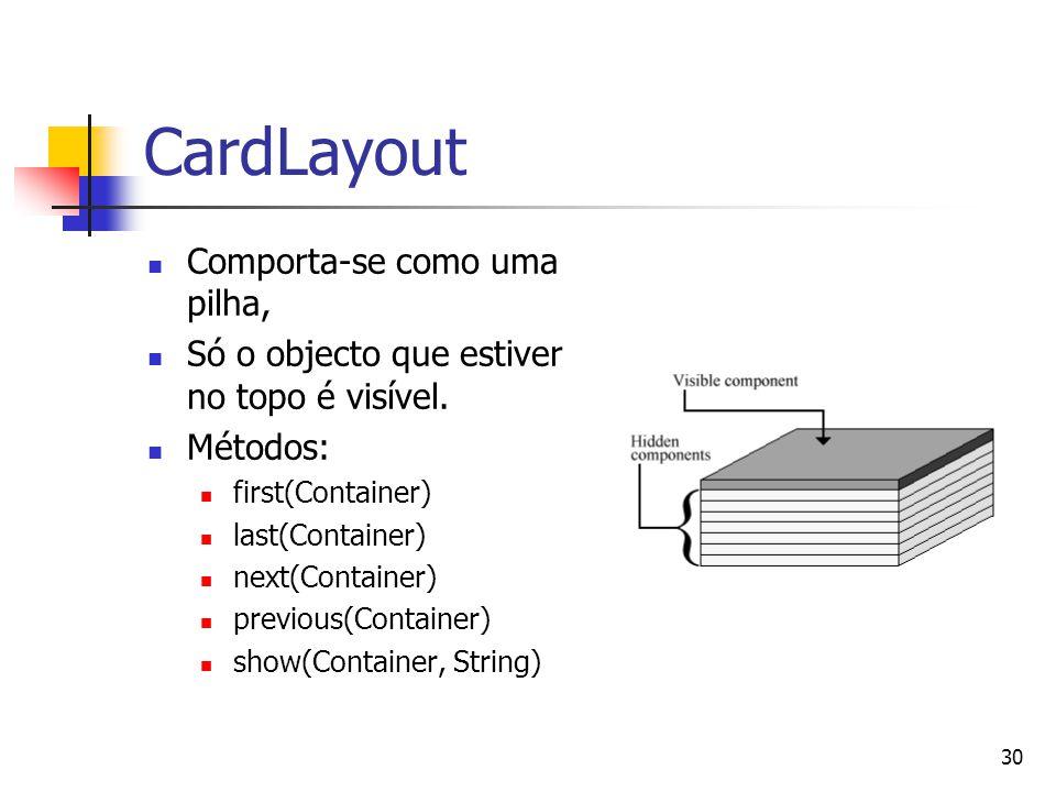 30 CardLayout Comporta-se como uma pilha, Só o objecto que estiver no topo é visível. Métodos: first(Container) last(Container) next(Container) previo