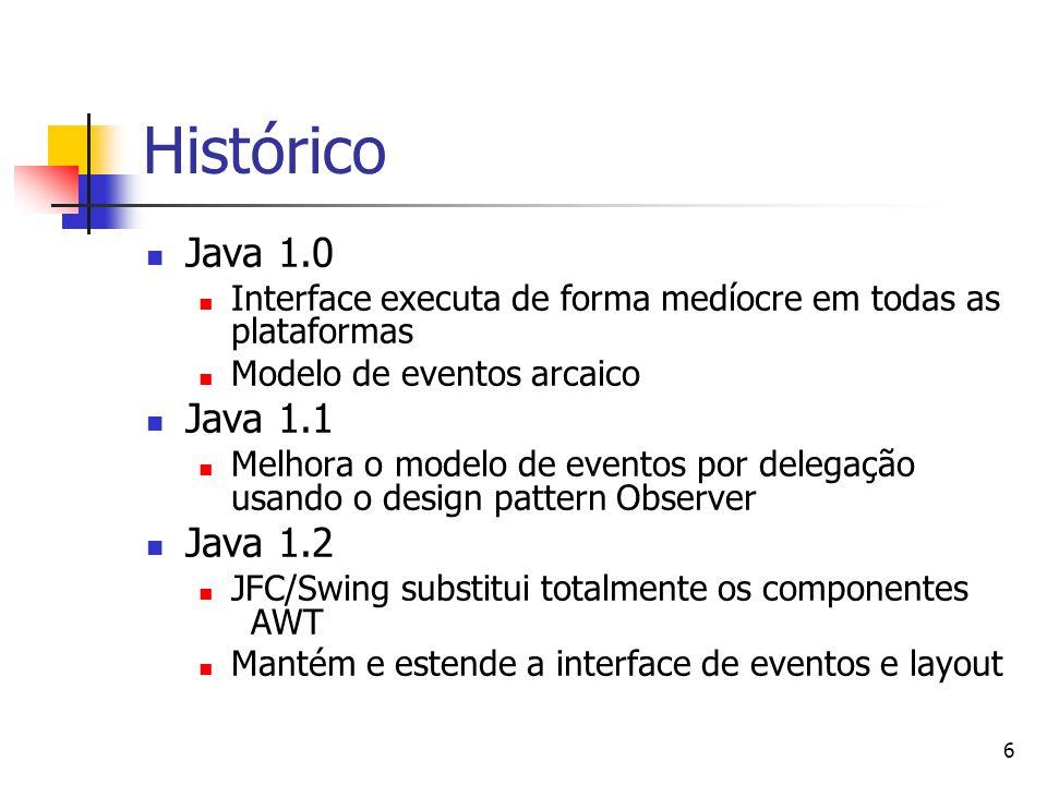 6 Histórico Java 1.0 Interface executa de forma medíocre em todas as plataformas Modelo de eventos arcaico Java 1.1 Melhora o modelo de eventos por de