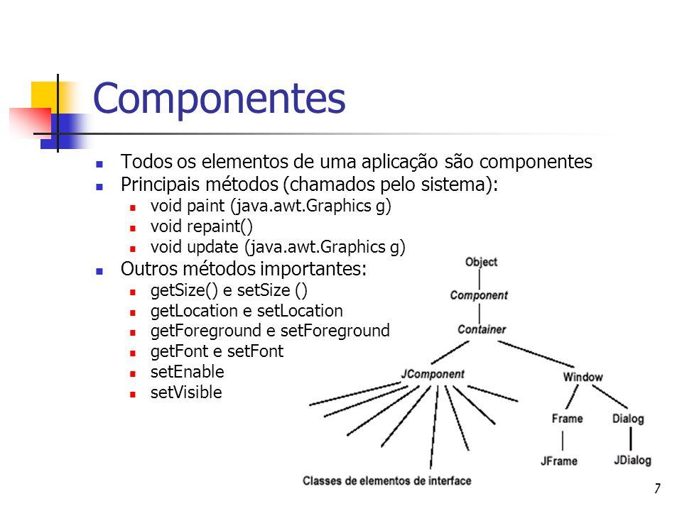7 Componentes Todos os elementos de uma aplicação são componentes Principais métodos (chamados pelo sistema): void paint (java.awt.Graphics g) void re