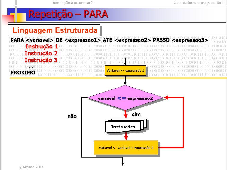 Introdução à programaçãoComputadores e programação I © M@nso 2003 Repetição – PARA Linguagem Estruturada PARA DE ATE PASSO Instrução 1 Instrução 2 Ins