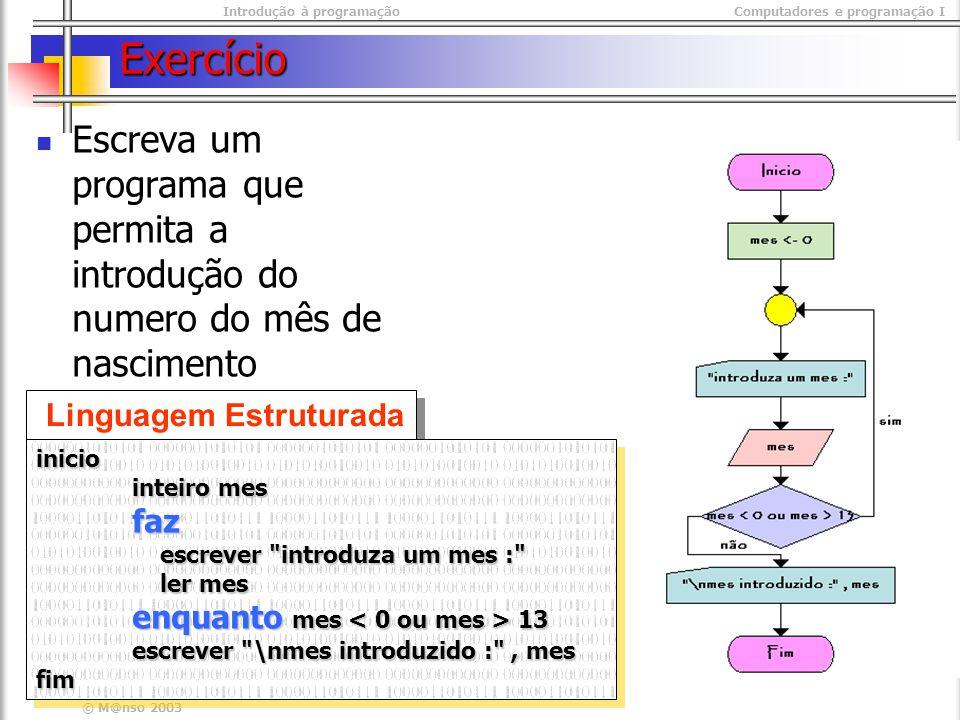 Introdução à programaçãoComputadores e programação I © M@nso 2003 Exercício Linguagem Estruturada inicio inteiro mes faz escrever