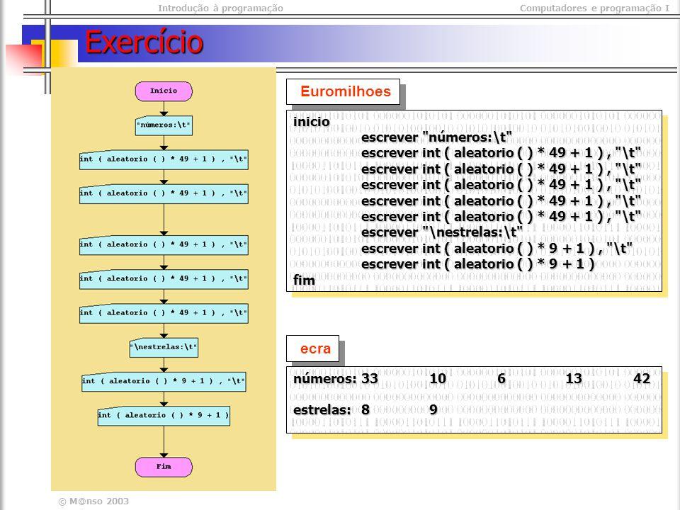 Introdução à programaçãoComputadores e programação I © M@nso 2003 Exercício Euromilhoes inicio escrever