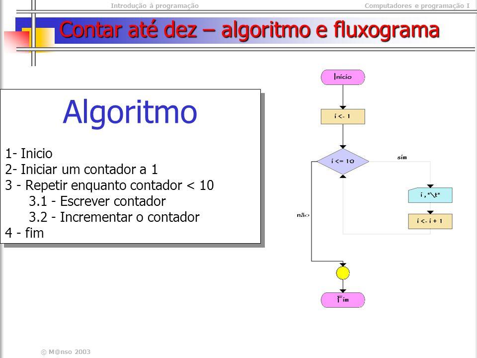 Introdução à programaçãoComputadores e programação I © M@nso 2003 Algoritmo 1- Inicio 2- Iniciar um contador a 1 3 - Repetir enquanto contador < 10 3.