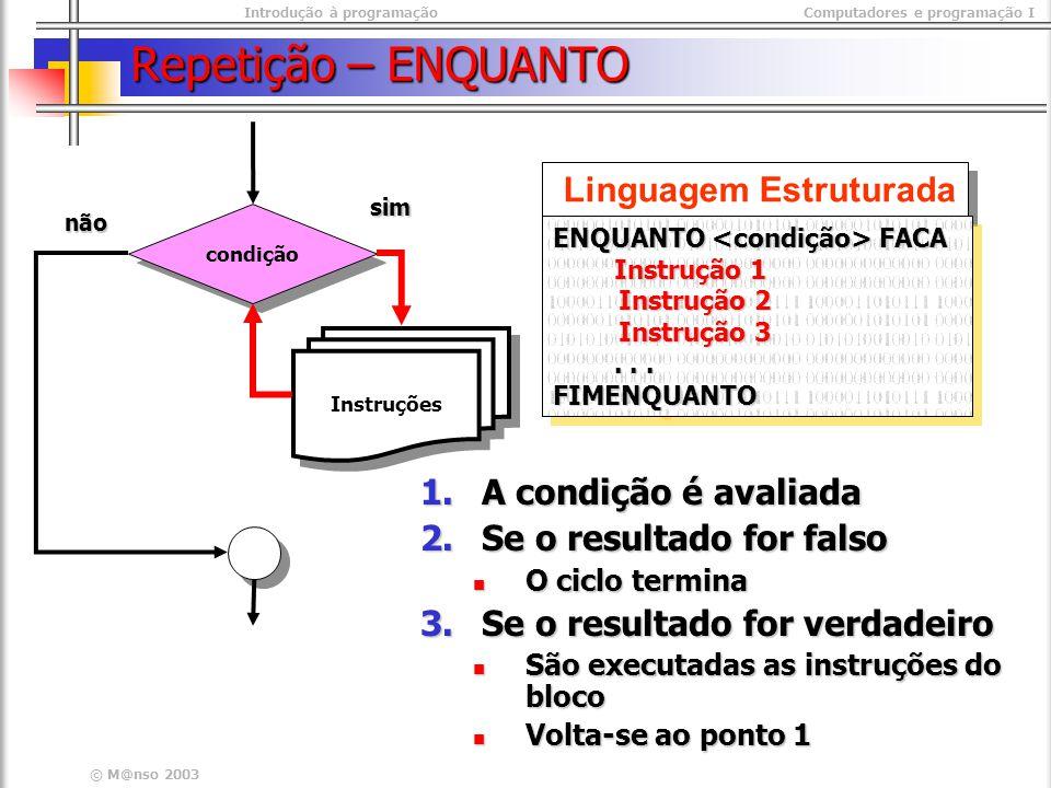 Introdução à programaçãoComputadores e programação I © M@nso 2003 Repetição – ENQUANTO Linguagem Estruturada ENQUANTO FACA Instrução 1 Instrução 2 Ins