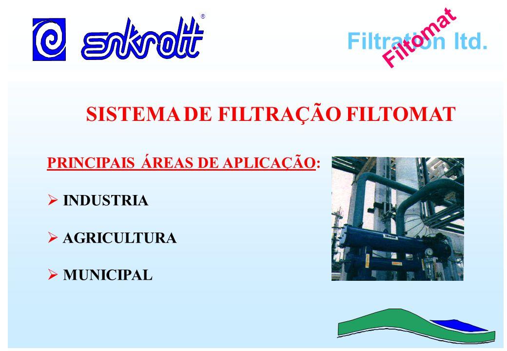 Filtration ltd. ® Filtomat SISTEMA DE FILTRAÇÃO FILTOMAT PRINCIPAIS ÁREAS DE APLICAÇÃO: INDUSTRIA AGRICULTURA MUNICIPAL