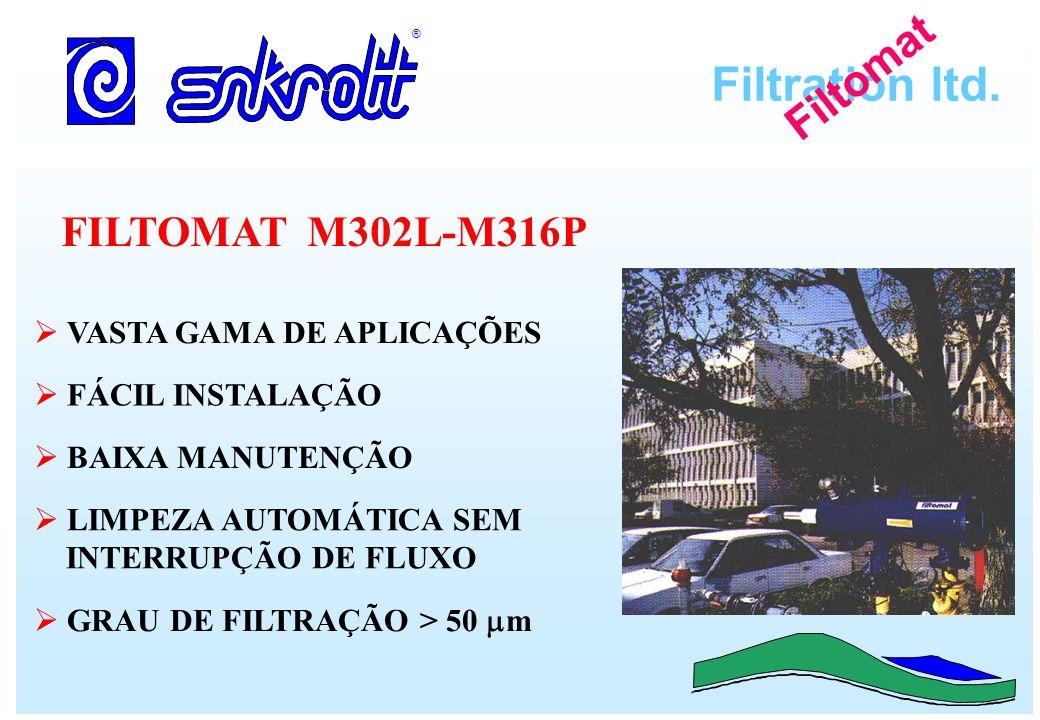 Filtration ltd. ® Filtomat FILTOMAT M302L-M316P LIMPEZA AUTOMÁTICA SEM INTERRUPÇÃO DE FLUXO FÁCIL INSTALAÇÃO BAIXA MANUTENÇÃO VASTA GAMA DE APLICAÇÕES