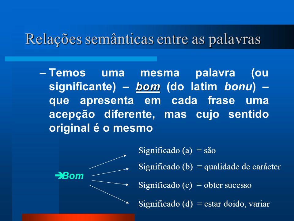 Relações semânticas entre as palavras bom –Temos uma mesma palavra (ou significante) – bom (do latim bonu) – que apresenta em cada frase uma acepção d