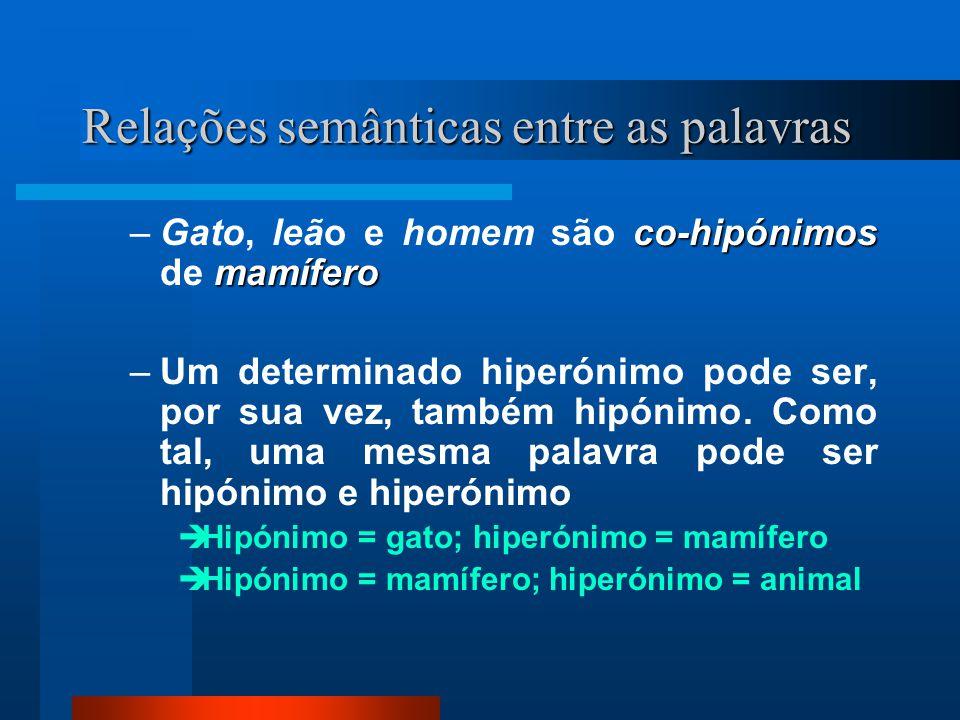 Relações semânticas entre as palavras co-hipónimos mamífero –Gato, leão e homem são co-hipónimos de mamífero –Um determinado hiperónimo pode ser, por