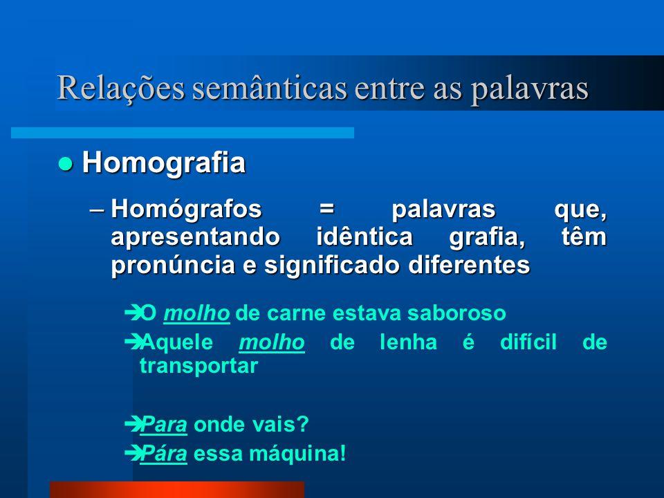 Homografia Homografia –Homógrafos = palavras que, apresentando idêntica grafia, têm pronúncia e significado diferentes O molho de carne estava saboros
