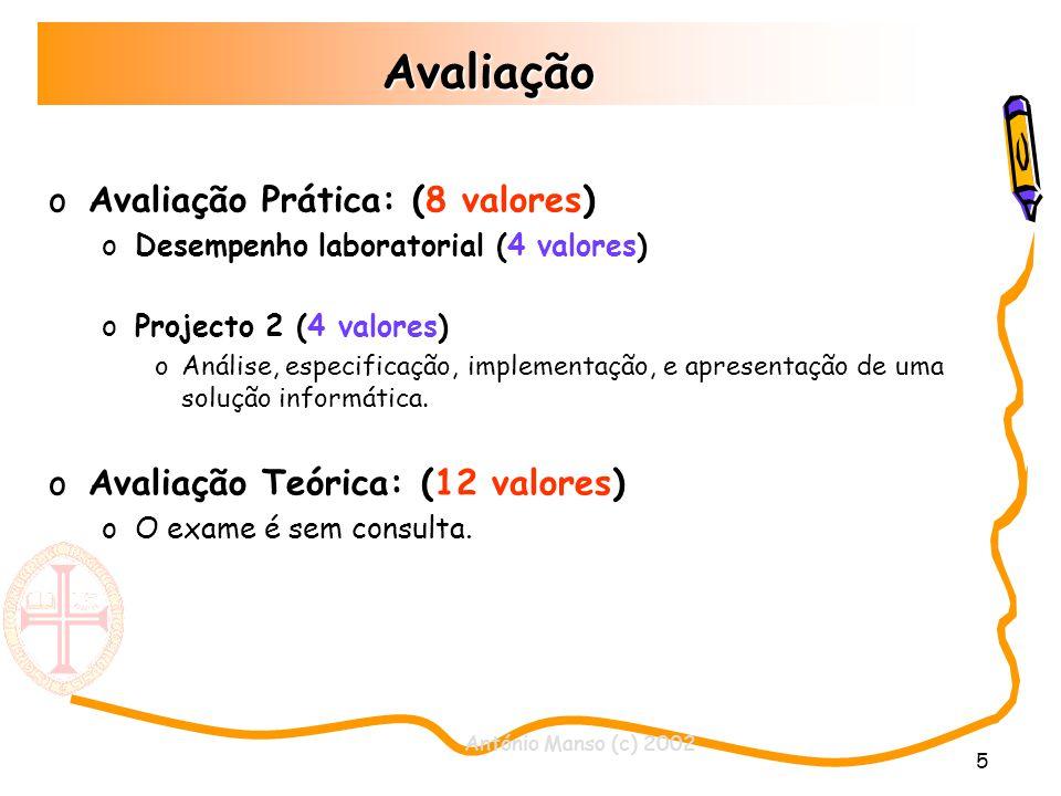 António Manso (c) 2002 6 Bibliografia Fundamentos de Programação em Java 2 Autor: António José Mendes / Maria José Marcelino Thinking in Java Bruce Eckel Tutoriais Sun http://java.sun.com/