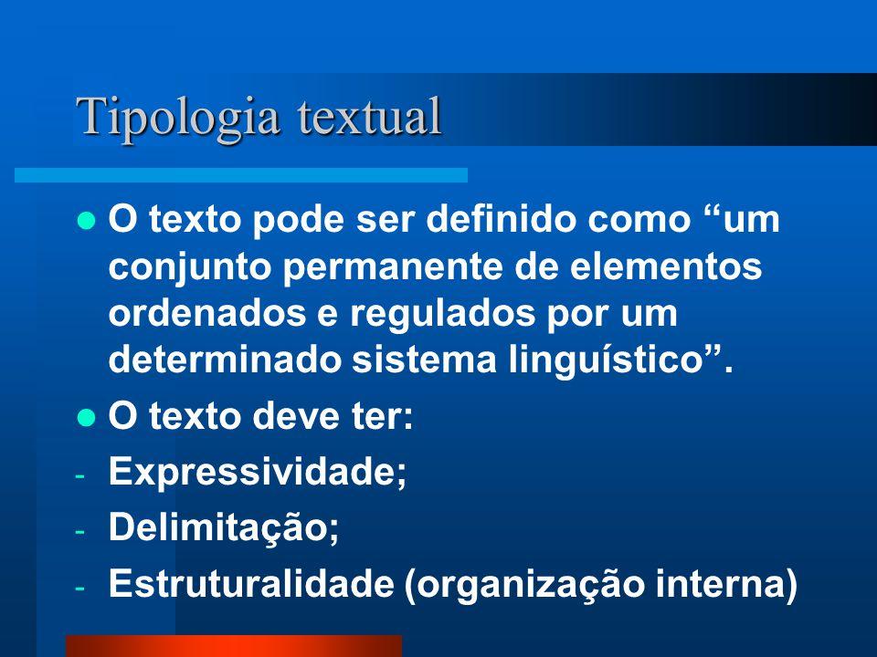 Tipologia textual: texto literário/ texto não literário Texto Literário: tem, geralmente, uma intenção estética, marcado pela pluralidade de sentidos e pelo desvio da norma.
