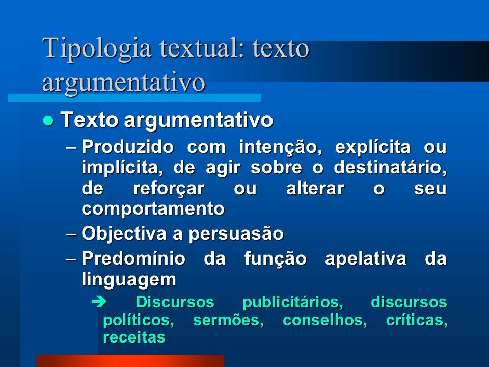 Tipologia textual: texto argumentativo Texto argumentativo Texto argumentativo –Produzido com intenção, explícita ou implícita, de agir sobre o destin