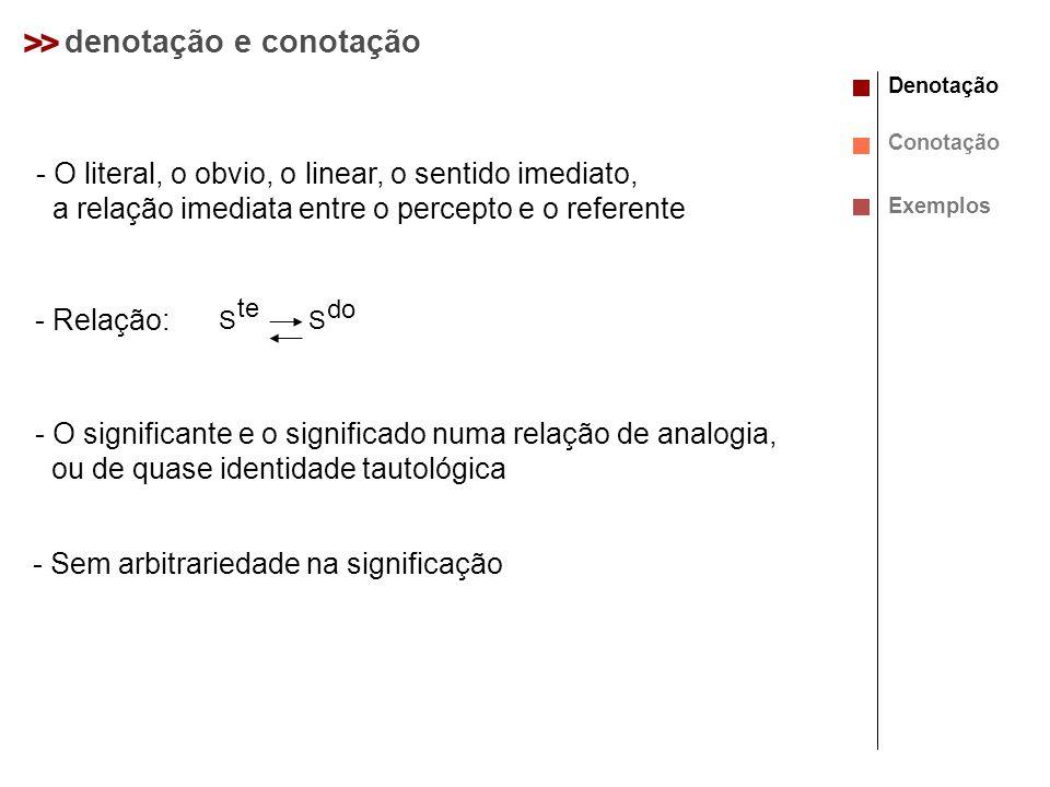 >> denotação e conotação - O literal, o obvio, o linear, o sentido imediato, a relação imediata entre o percepto e o referente - Relação: Denotação Co