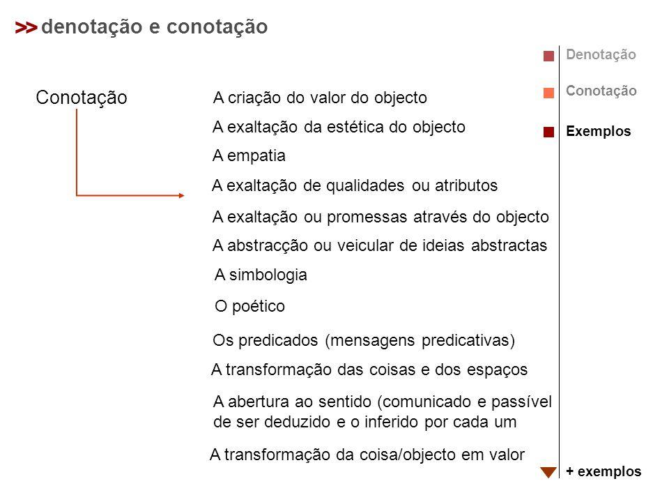 >> denotação e conotação Denotação Conotação Exemplos + exemplos Conotação A criação do valor do objecto A exaltação da estética do objecto A empatia