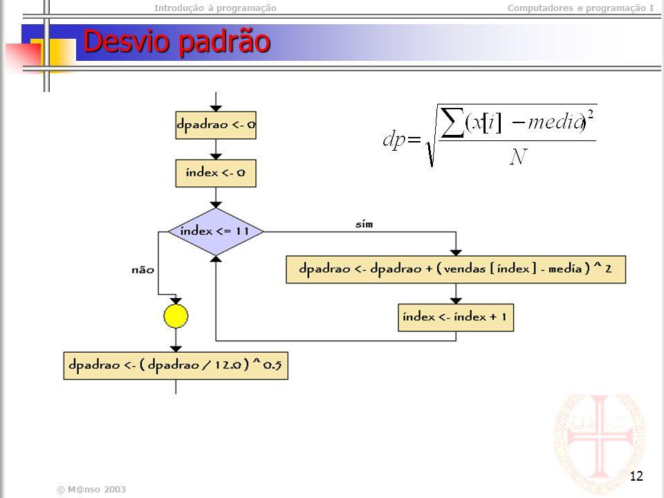 Introdução à programaçãoComputadores e programação I © M@nso 2003 12 Desvio padrão