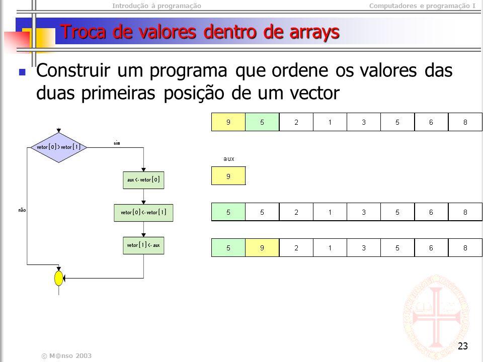 Introdução à programaçãoComputadores e programação I © M@nso 2003 23 Troca de valores dentro de arrays Construir um programa que ordene os valores das duas primeiras posição de um vector