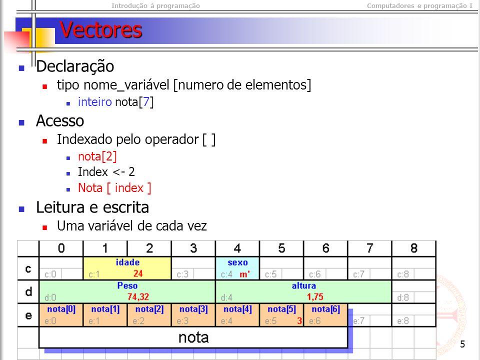 Introdução à programaçãoComputadores e programação I © M@nso 2003 5 Vectores Declaração tipo nome_variável [numero de elementos] inteiro nota[7] Acesso Indexado pelo operador [ ] nota[2] Index <- 2 Nota [ index ] Leitura e escrita Uma variável de cada vez
