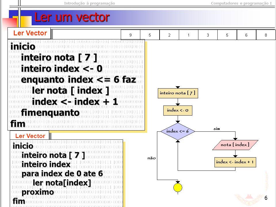 Introdução à programaçãoComputadores e programação I © M@nso 2003 6 Ler Vector inicio inteiro nota [ 7 ] inteiro nota [ 7 ] inteiro index <- 0 inteiro index <- 0 enquanto index <= 6 faz enquanto index <= 6 faz ler nota [ index ] ler nota [ index ] index <- index + 1 index <- index + 1 fimenquanto fimenquantofiminicio inteiro nota [ 7 ] inteiro nota [ 7 ] inteiro index <- 0 inteiro index <- 0 enquanto index <= 6 faz enquanto index <= 6 faz ler nota [ index ] ler nota [ index ] index <- index + 1 index <- index + 1 fimenquanto fimenquantofim Ler um vector Ler Vector inicio inteiro nota [ 7 ] inteiro nota [ 7 ] inteiro index inteiro index para index de 0 ate 6 para index de 0 ate 6 ler nota[index] ler nota[index] proximo proximofiminicio inteiro nota [ 7 ] inteiro nota [ 7 ] inteiro index inteiro index para index de 0 ate 6 para index de 0 ate 6 ler nota[index] ler nota[index] proximo proximofim