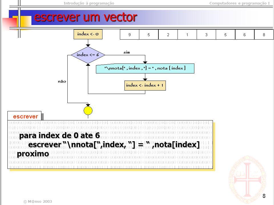 Introdução à programaçãoComputadores e programação I © M@nso 2003 8 escrever um vector escrever para index de 0 ate 6 para index de 0 ate 6 escrever \nnota[,index, ] =,nota[index] escrever \nnota[,index, ] =,nota[index] proximo proximo para index de 0 ate 6 para index de 0 ate 6 escrever \nnota[,index, ] =,nota[index] escrever \nnota[,index, ] =,nota[index] proximo proximo
