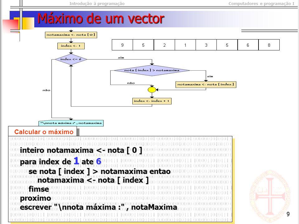 Introdução à programaçãoComputadores e programação I © M@nso 2003 9 Máximo de um vector Calcular o máximo inteiro notamaxima <- nota [ 0 ] inteiro notamaxima <- nota [ 0 ] para index de 1 ate 6 para index de 1 ate 6 se nota [ index ] > notamaxima entao se nota [ index ] > notamaxima entao notamaxima <- nota [ index ] notamaxima <- nota [ index ] fimse fimse proximo proximo escrever \nnota máxima : , notaMaxima escrever \nnota máxima : , notaMaxima inteiro notamaxima <- nota [ 0 ] inteiro notamaxima <- nota [ 0 ] para index de 1 ate 6 para index de 1 ate 6 se nota [ index ] > notamaxima entao se nota [ index ] > notamaxima entao notamaxima <- nota [ index ] notamaxima <- nota [ index ] fimse fimse proximo proximo escrever \nnota máxima : , notaMaxima escrever \nnota máxima : , notaMaxima