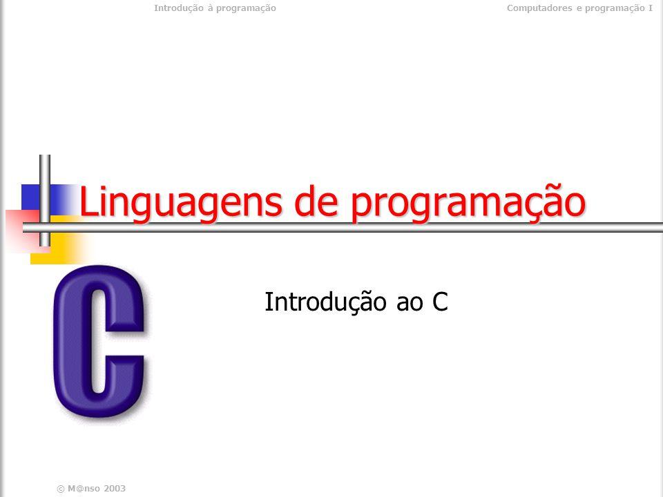 Introdução à programaçãoComputadores e programação I © M@nso 2004 Definição de tipos - Enumerações enum semana { segunda=2, terca=3, quarta=4, quinta=5, sexta=6, sabado=7, domingo=8 } ; Definição de nomes para valores Cores, Dias da semana, Meses, etc.