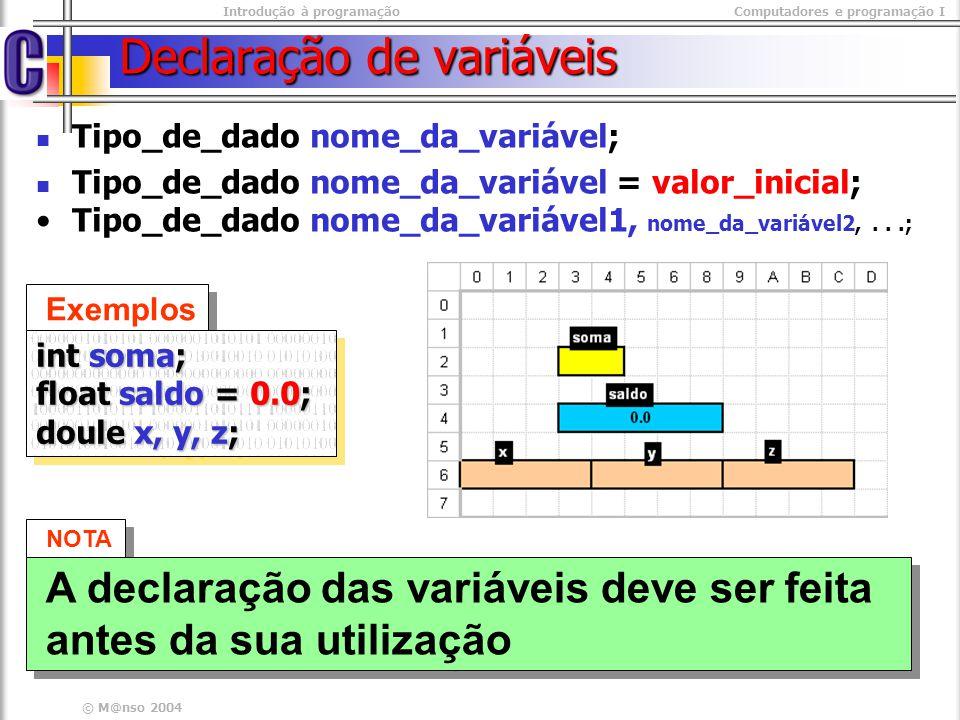 Introdução à programaçãoComputadores e programação I © M@nso 2004 Declaração de variáveis Tipo_de_dado nome_da_variável; Tipo_de_dado nome_da_variável