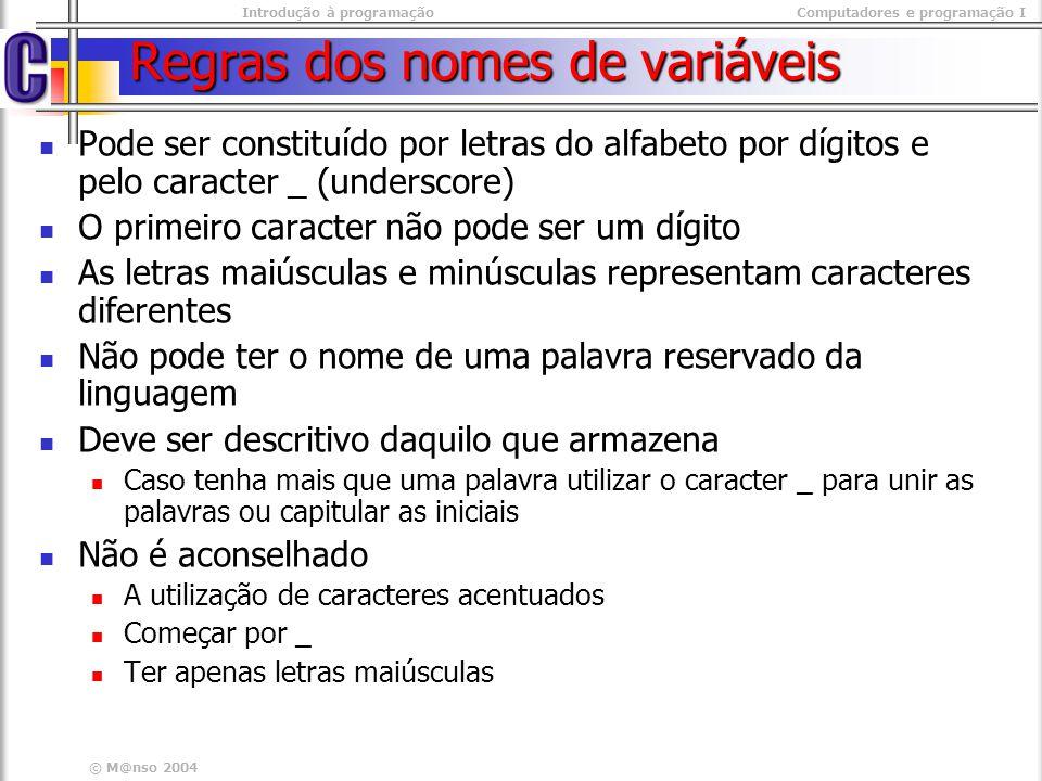 Introdução à programaçãoComputadores e programação I © M@nso 2004 Regras dos nomes de variáveis Pode ser constituído por letras do alfabeto por dígito