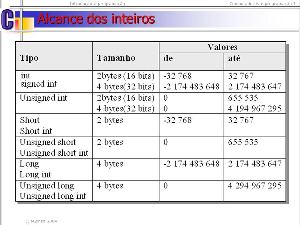 Introdução à programaçãoComputadores e programação I © M@nso 2004 Alcance dos inteiros