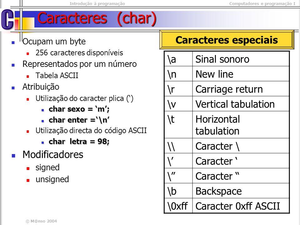 Introdução à programaçãoComputadores e programação I © M@nso 2004 Caracteres (char) Ocupam um byte 256 caracteres disponíveis Representados por um núm