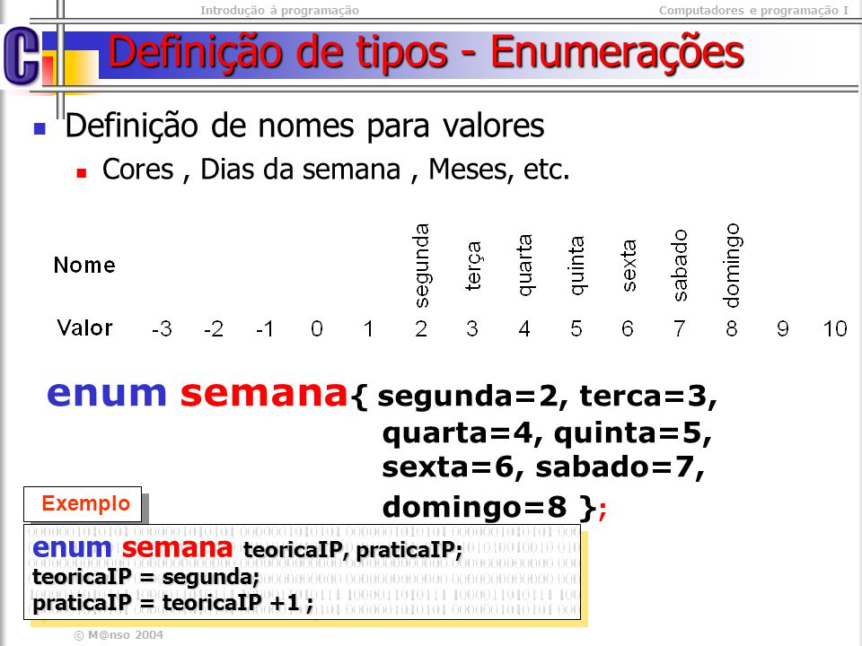 Introdução à programaçãoComputadores e programação I © M@nso 2004 Definição de tipos - Enumerações enum semana { segunda=2, terca=3, quarta=4, quinta=