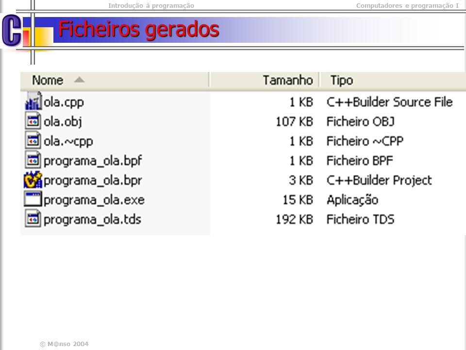 Introdução à programaçãoComputadores e programação I © M@nso 2004 Ficheiros gerados