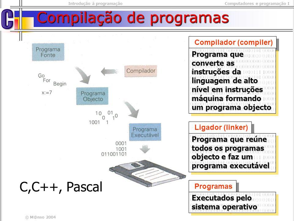Introdução à programaçãoComputadores e programação I © M@nso 2004 Selecção Simples (exemplo) Calculo do total da factura #include #include int main(int argc, char* argv[]) { float totalFactura; scanf(%f, &totalFactura); if( totalFactura > 1000.0) { totalFactura*= 0.85; } printf( %f, totalFactura);} #include #include int main(int argc, char* argv[]) { float totalFactura; scanf(%f, &totalFactura); if( totalFactura > 1000.0) { totalFactura*= 0.85; } printf( %f, totalFactura);} NOTA Se o bloco tiver apenas uma instrução podem omitir- se as chavetas