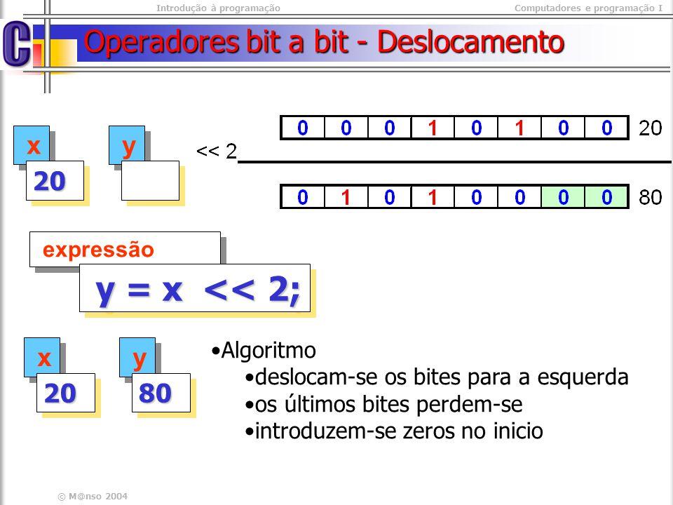Introdução à programaçãoComputadores e programação I © M@nso 2004 Operadores bit a bit - Deslocamento x x 2020 y y expressão y = x << 2; y = x << 2; x
