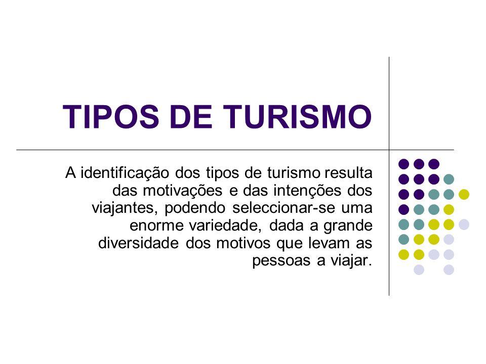 TIPOS DE TURISMO A identificação dos tipos de turismo resulta das motivações e das intenções dos viajantes, podendo seleccionar-se uma enorme variedad