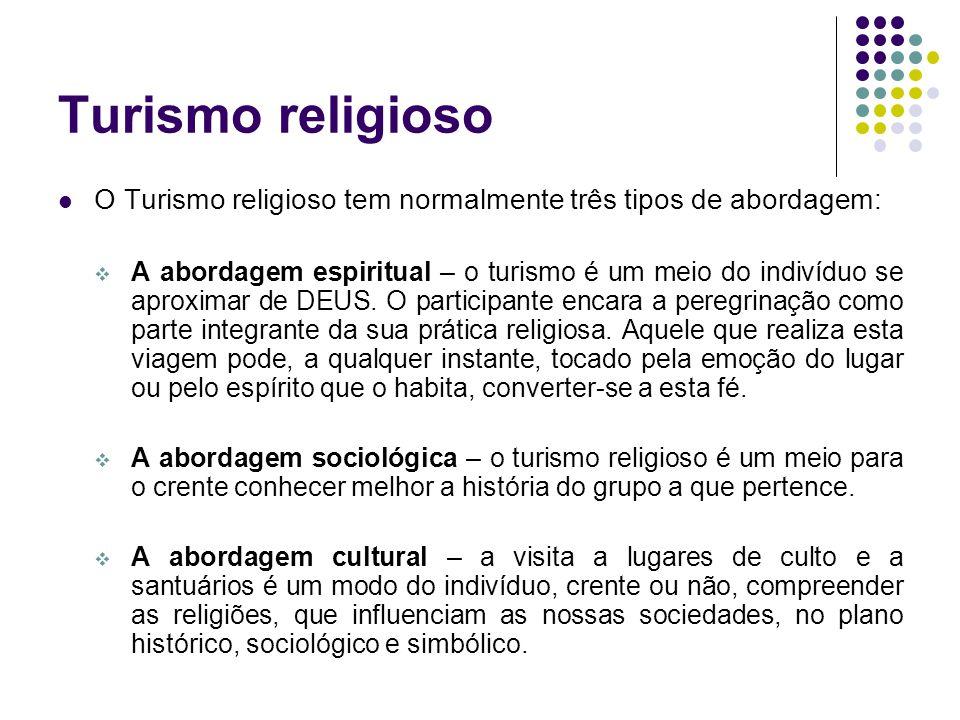 Turismo religioso O Turismo religioso tem normalmente três tipos de abordagem: A abordagem espiritual – o turismo é um meio do indivíduo se aproximar