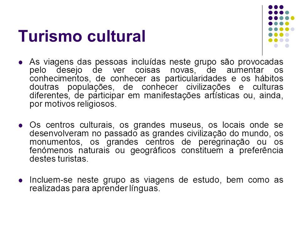 Turismo cultural As viagens das pessoas incluídas neste grupo são provocadas pelo desejo de ver coisas novas, de aumentar os conhecimentos, de conhece